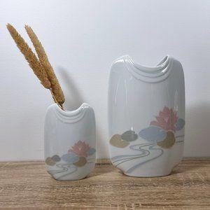 1980s Pastel Vase Set Water Lily Lotus W German